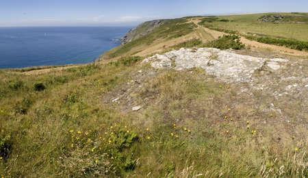 southwest: de kliffen op bolberry op het zuidwesten devon kust kust pad het zuiden hammen devon england uk