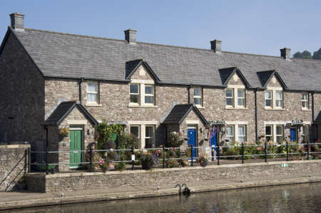 brecon beacons: cottages, brecon canal basin the monmouthshire and brecon canal brecon beacons national park powys wales uk