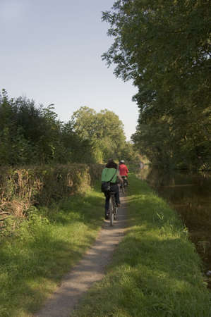 the taff trail long distance footpath and cycle route alongside the monmouthshire and brecon canal powys wales brecon beacons national park uk gb photo