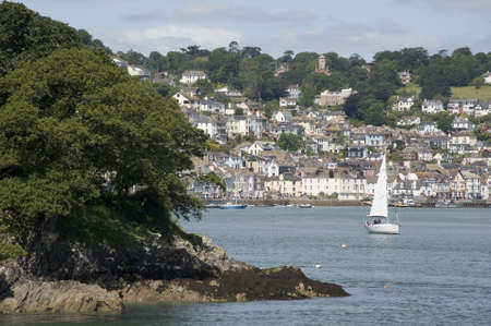 view of dartmouth from the castle on the estuary of the river dart devon photo