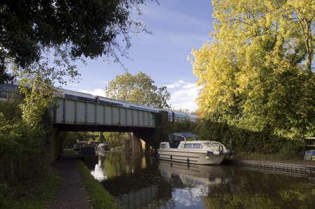 struts: A bridge over a canal. Stock Photo