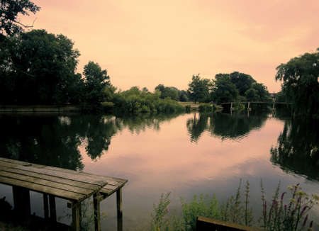 historical reflections: Sonning  the River Thames near Reading, Berkshire, England, UK