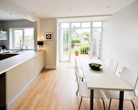 decking: colour image kitchen in newly restored rebuilt house work surfaces