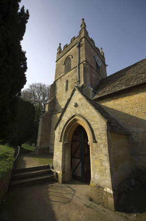 slaughter: The church at Upper Slaughter Village The Cotswolds Gloucestershire The Midlands England Stock Photo