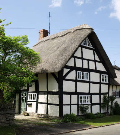 thatched cottage: thatched cottage in an english village