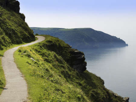 lynmouth: the coast of the valley of the rocks lynton devon along the coastal path to lynmouth Stock Photo