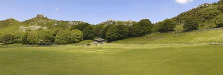 lynton: the valley of the rocks lynton in devon - lynton cricket club pitch in foreground