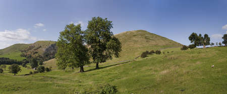fells: peak district landscape with fields and dry stone walls. The valleys of the river manifold and river dove, dovedale near ilam in the national park