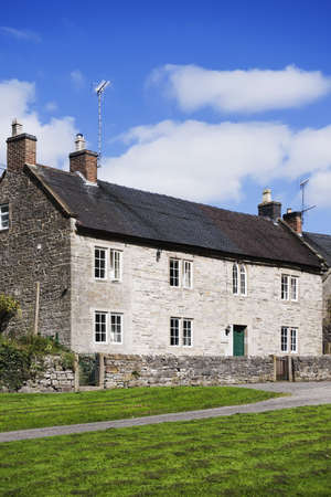 hamlets: village with houses in countryside - tissington, derbyshire, peak district, national park, england, uk