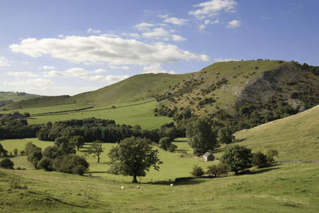 fells: peak district landscape with fields and dry stone walls