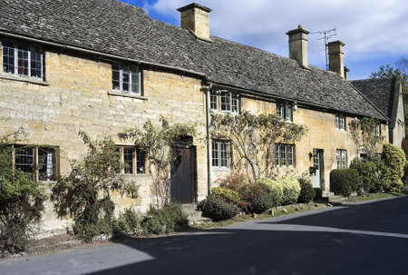 A stone cottage in stanton village, the cotswolds, midlands gloucestershireengland uk photo