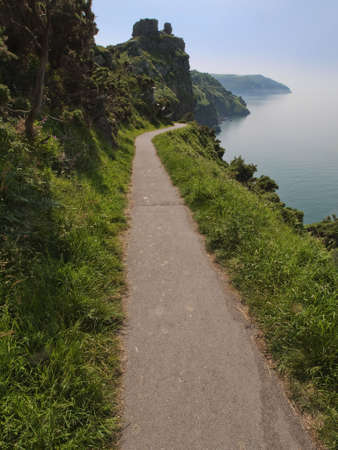 lynmouth: views of the the coast of the valley of the rocks lynton devon along the coastal path to lynmouth Stock Photo