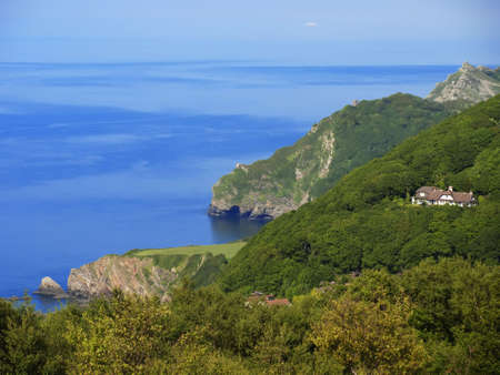 lynmouth: the coast of the valley of the rocks lynton devon along the coastal path