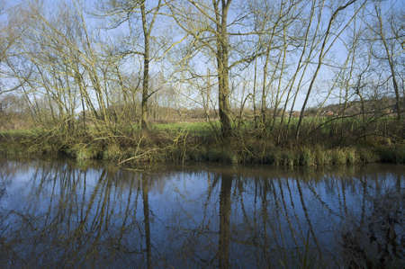 redditch: a river in winter - the river arrow country park redditch worcestershire on england