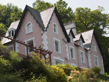 lynmouth: detached house exterior view Stock Photo