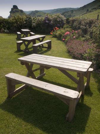 lynton: a bench in a country garden - valley of the rocks lynton devon