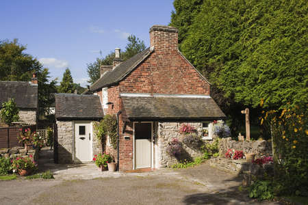 derbyshire: a cottage with a back garden - in the peak district derbyshire in the uk