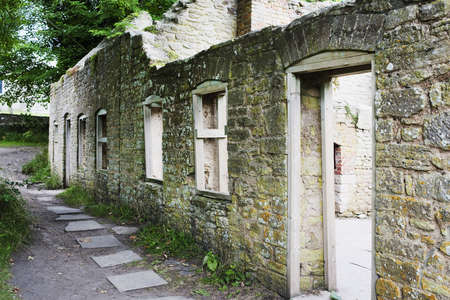 evicted: the abandoned village of tyneham on army land in dorset. village was taken over by the army in the second world war & is now deserted. Stock Photo