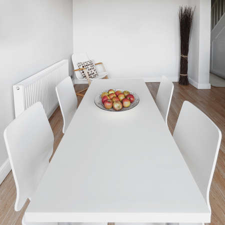 a dining room with tables and chairs Stock Photo