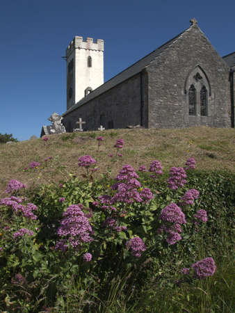 pembrokeshire: The parish church at manorbier pembrokeshire wales Stock Photo