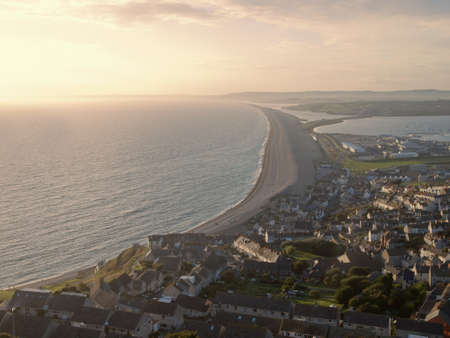 dorset: a high level view of chesil beach from the isle of portland dorset