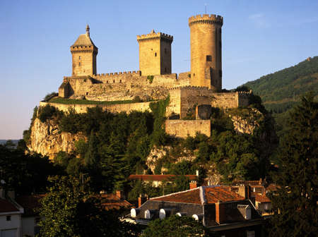 chateau old town foix pyrenees france europe Stock Photo
