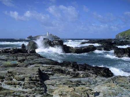 rocks lighthouse godrevy point cornwall uk photo