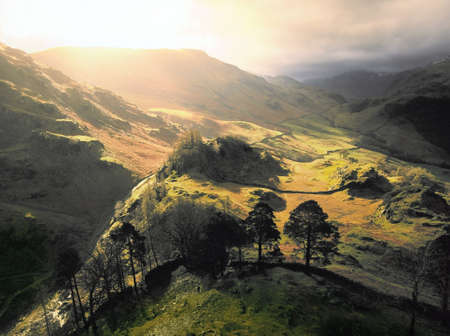 view of borrowdale from the summit of castle crag in the english lake district Stock Photo - 12274014