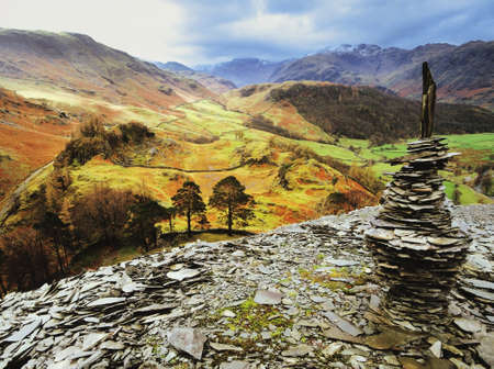 view of borrowdale from the summit of castle crag in the english lake district