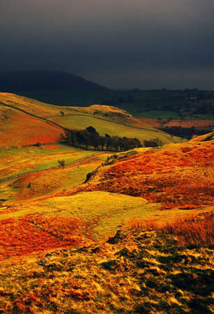 view of high rigg, st john in the vale, sunlight on hills after passing storm in the english lake district Stock Photo - 14871480