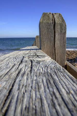 groyne: a shingle beach with groynes, near littlehampton, west sussex, england, uk