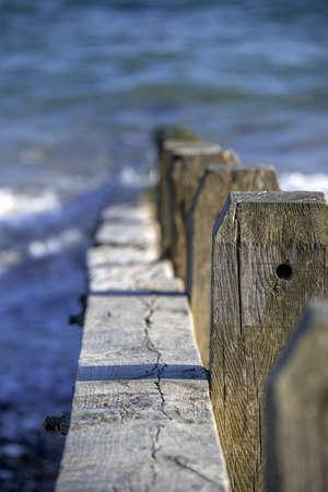 groynes: a shingle beach with groynes, near littlehampton, west sussex, england, uk