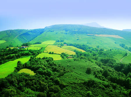pays: The pays basque countryside pyrenees atlantique aquitaine, France. Stock Photo