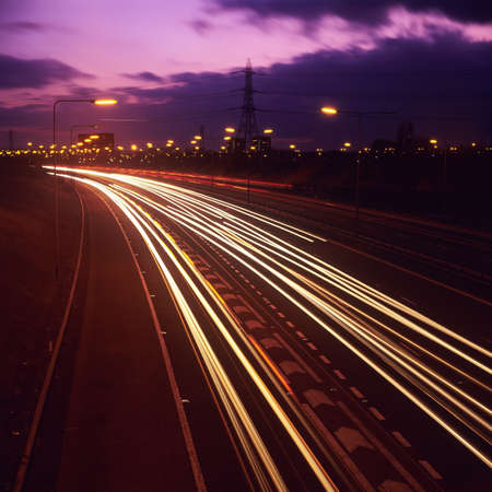 the M6 motorway, birmingham at night Standard-Bild