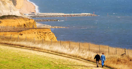 the jurassic coastline at bridport, dorset, england uk photo