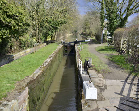 inland waterways: a lock gate on a canal on the inland waterways network of navigable canals and waterways in the english and british countryside in the uk, united kingdom, great britain, europe Stock Photo