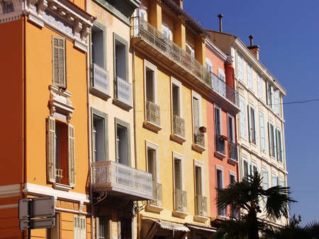 a town with old houses in france photo