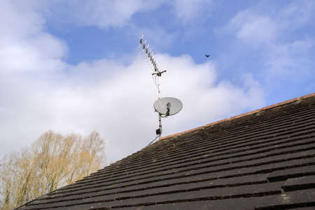 arial views: A satellite dish and TV arial
