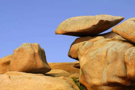 cote de granit rose: The rocky coast of the cote de granit rose, cotes darmour, brittany. Stock Photo