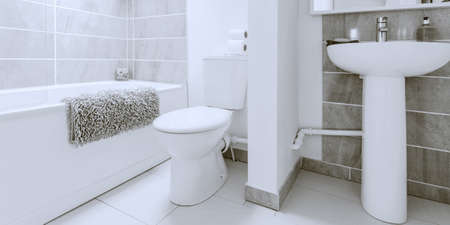 a modern bathroom in a newly converted rebuilt house Stock Photo