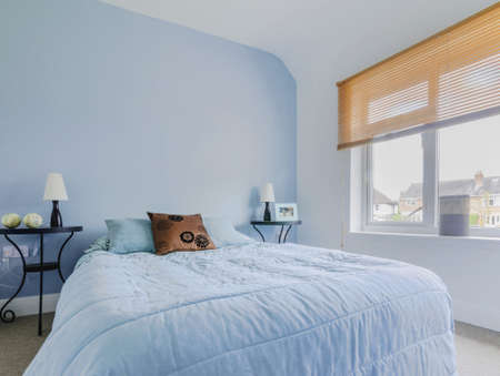 bedroom in newly converted house clean design modern Stock Photo