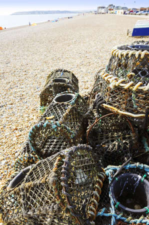 lobster pots: seaford beach east sussex Stock Photo