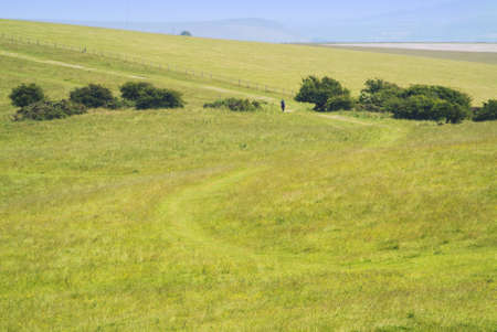 view from the south downs way footpath, sussex, england uk photo