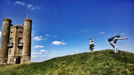 broadway tower: Tourists taking selfies at Broadway tower in the English Cotswolds England UK