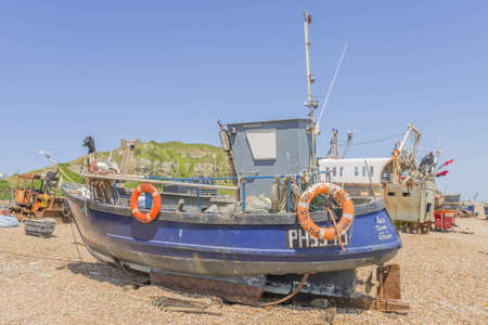 hastings: Trawlers Hastings beach Sussex uk Stock Photo