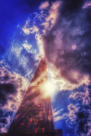 monolith: Monolith with sun flares