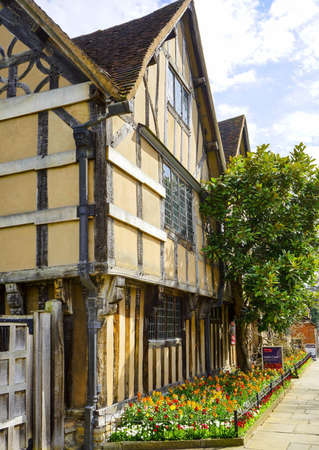 architecture: Old timber framed buildings in Stratford upon Avon Stock Photo