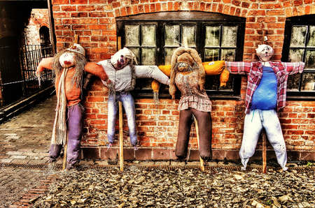 guy fawkes: Scarecrows  bonfire night guys Stock Photo