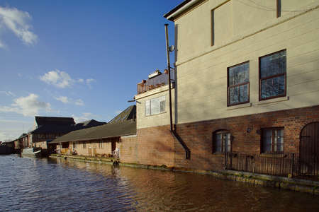 worcester and birmingham canal: small industrial units alongside canal