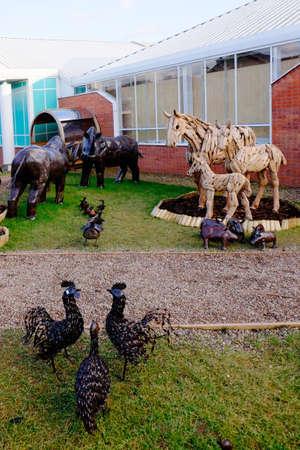 metal: Metal garden sculptures of animals in a garden centre